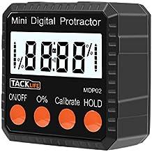 Tacklife--MDP02- Avanzado Medidor de angulos Inclinometer digital transportador de ángulos para medir Nivel / Prolongador / Ángulo Buscador retención de datos con magnético y batería incluida