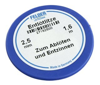 Entlötlitze FELDER, 2,50mm, mit halogenfreiem Flussmittel getränkte Kupferlitze, 1,60m Spule