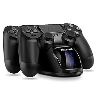 PS4 Controller Ladestation, ECHTPower Dual Dualshock 4 Ladegerät Charger, Doppeltes Schnellladegerät mit LED Anzeige für PlayStation 4/PS4 Slim/PS4 Pro Wireless Controller Gamepad (Blau+ Orange LED)