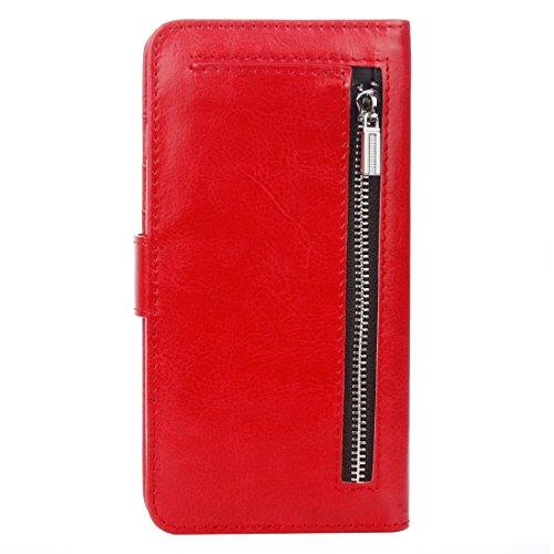 iPhone Case Cover Pour iPhone 7 Séparable Crazy Horse Texture Zipper Portefeuille Style Flip Étui en cuir ( Color : Blue ) Red