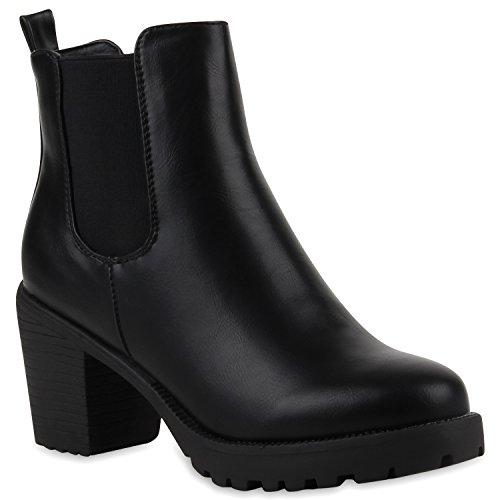 Damen Stiefeletten Chelsea Boots Blockabsatz Profilsohle Schuhe 110681 Schwarz Glatt 36 Flandell