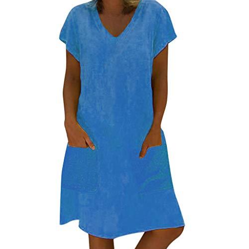 HULKY lose Sommer-Art-Frauen-T-Shirt Feminino-Kleid-Baumwollbeiläufiges Normallack-großes Größen-Kleid(blau,L)