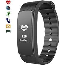 CHEREEKI Pulsera Inteligente Brazalete Deportivo Pulsera de ritmo cardiaco inteligente con pantalla táctil Seguimiento de actividad Pulsera de monitor de sueño Smartwatch para Smartphone Android y iPhone iOS