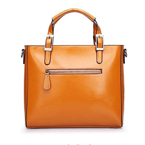 MeiliYH Borse a Mano in PU Pelle Borsa a Tracolla Grande Capacità Fashion Borsa Shopping Alta Qualità Elegante per Donna (Arancione) Arancione
