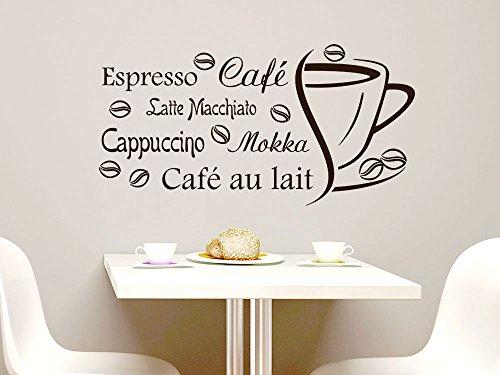 Für Cappuccino Rezept (Wandtattoo Wandaufkleber Tattoo Sprüche für Küche Espresso Café Cappuccino (78x40cm // 080 braun))