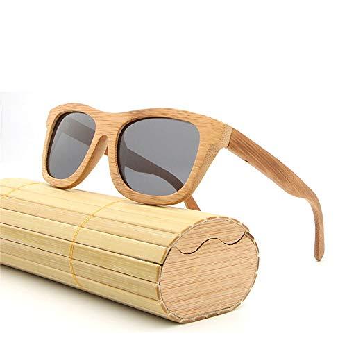 Easy Go Shopping Beschichtete All-Bamboo Herren Damen Brillen Polarized Bamboo Lightweight Wood Vintage Sonnenbrillen Sonnenbrillen und Flacher Spiegel (Color : Schwarz, Size : Kostenlos)