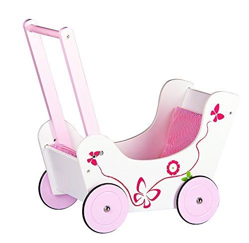 LEOMARK Lauflernwagen Aus Holz Puppenwagen inkl. Bettwäsche Schmetterling Puppen Wagen Lauflern Wagen Lauflernhilfe Garnitur Pink - 2