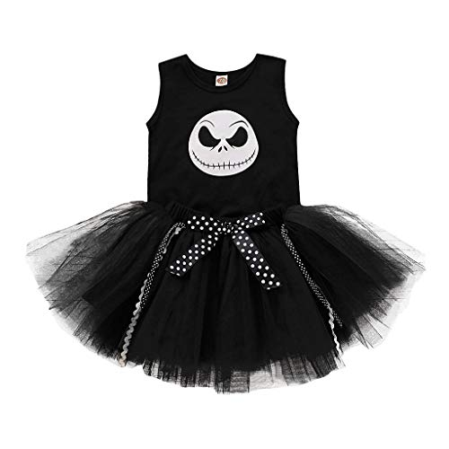 Kostüm Tanz Bären - Riou Halloween Kostüm Mädchen Tüllrock Fasching Baby kostüm Party Costume Tanz Ballett Tutu Rock + Skelett Printed Strampler Babykleidung Outfits Set