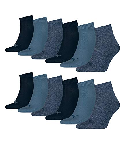 Puma 12 Paar Unisex Quarter Socken Sneaker Gr. 35-49 für Damen Herren Füßlinge, Socken & Strümpfe:47-49, Farbe:460 denim blue
