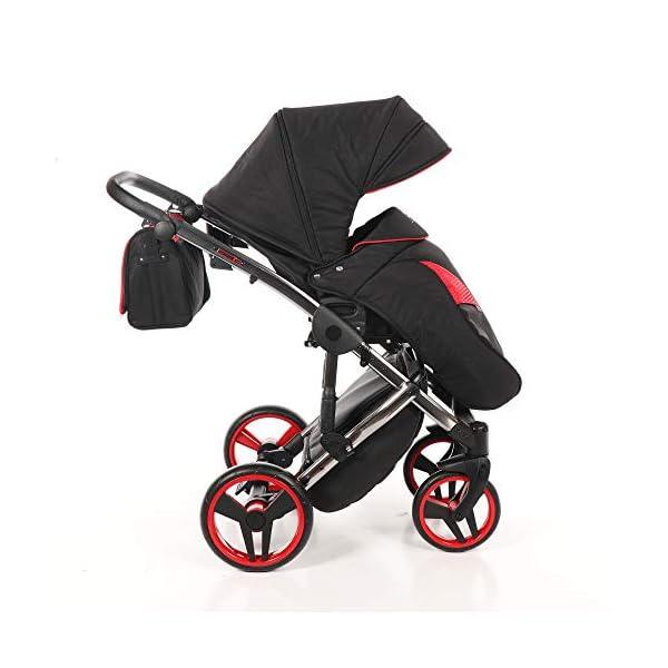 Baby PRAM Pushchair Set JUNAMA Diamond S-LINE BABYWAGEN Buggy BABYSCHALE + ZUBEHÖR (01 Rot-Schwarz, 3in1) JUNAMA Lockable swivel wheels Light alluminium chassis 2 separate modules - baby tub, sport seat 6