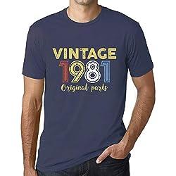 Ultrabasic - Hombre Camiseta Gráfico tee Shirt 1981 Original Parts Azul Oscuro