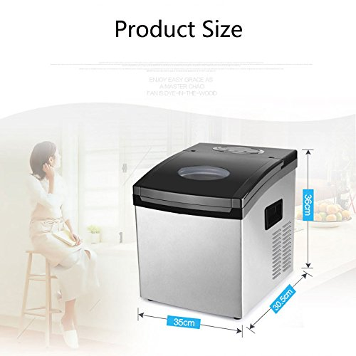 Counter Top Ice Maker Machine For Home,High Output 25KG Ice Per Day,Compact And Portable No Plumbing, Low Energy Small Tea Shop Stainless Steel Manual Water