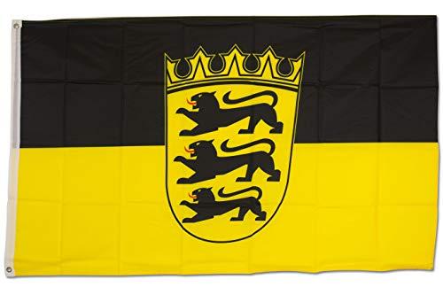 SCAMODA Bundes- und Länderflagge aus wetterfestem Material mit Metallösen (Baden-Württemberg) 150x90cm