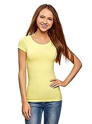 oodji Ultra Damen Tailliertes T-Shirt (2er-Pack), Gelb, DE 40 / EU 42 / L