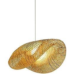 HWJF Estilo Retro del sudeste asiático, lámpara de bambú, lámpara de Techo, Sala de té, Sala de Estar, decoración de ratán AC110-240V E27,50CM