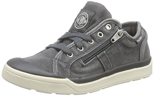 Palladium Unisex-Kinder Pallarue Zip Cvs Low-Top Dunkelgrau (Turbulence/Marshmallow)