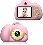 Kids Digital Camera for 4-10 Year Old Girls Boys, Mini 2.0 Inch Cartoon Pink Rechargeable Camera Shockproof 12