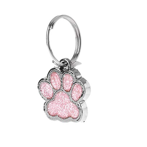 zrshygs Hund Hängende Zeichen Hundehalsband Tag Glänzende Glitter Pfote Form Haustier Hund Katze ID Tag Schlüsselanhänger Mit Ring PK (Verkleiden Sich Als Ein Zeichen)