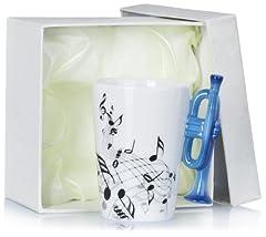 Idea Regalo - Tazza in ceramica con manico forma di tromba - Bianco Motivo