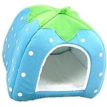 Encantador Fresa Suave Cachemira Calentar Mascota Nido Perro Gato Cama Plegable Lago Azul
