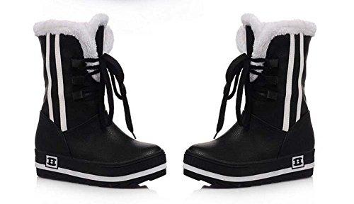 Bottes De Neige 4cm Noir Talon Chevalier Bottes Femmes Bout Rond Pu Cuir Cheville Bottes Mi-mollet Bottes Chaussures Occasionnels Robe Chaussures Eu Taille 32-42 Noir