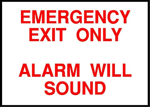 Label Decal Sticker Emergency Exit Only, Alarm Will Sound Emergency Exit Durability Self Adhesive Decal Uv Protected & Weatherproof