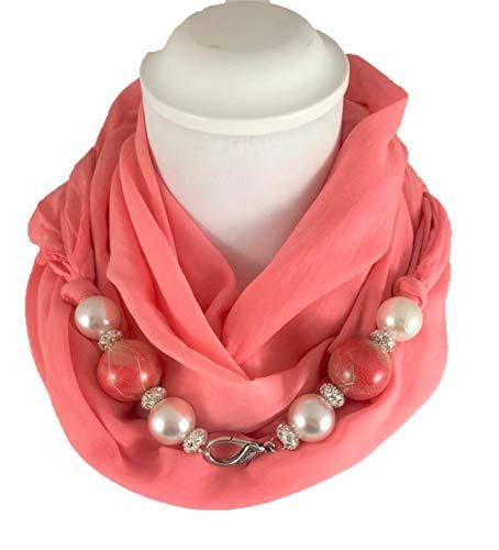 Sciarpa gioiello, foulard corallo con perle in legno rivestite con petali di fiori prodotto artigianale, fatto a mano in italia, made in italy