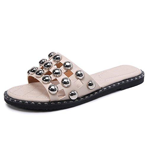 LIXIONG Portable Pantoufles d'été féminin Traversée d'un seul coup Mauvais fond doux Beaded Flat bottom Bottines femelles -Chaussures de mode ( Couleur : Beige , taille : EU38/UK5.5/CN38 ) Beige