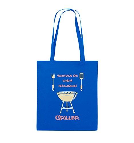 Comedy Bags - Vertraue nie einem schlanken Griller - Jutebeutel - lange Henkel - 38x42cm - Farbe: Schwarz / Weiss-Neongrün Royalblau / Rosa-Beige