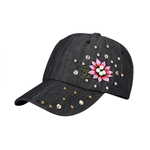 FORH Damen Modisch Kappen Chic Stickerei Blumenmuster Caps super cooler Denim...