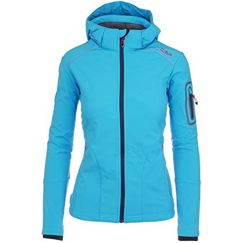 CMP Softshelljacken für Damen Softshell Jacke Fahrradjacke Fahrradregenjacke schwarz große Mädchen Funktions-Outdoor-Wandern-Jacke atmungsaktiv, Farbe:Blau, Größe:36