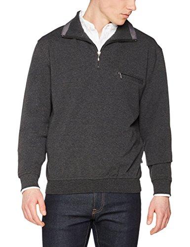 hajo Herren Sweatshirt H Sweatshirt Troyer M.lycra Grey (Anthrazitmelange 102)