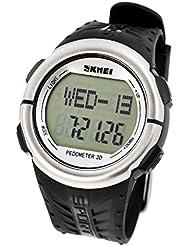 dsstyles Wasserdicht Herzfrequenz Monitor Schrittzähler Stoppuhr Sport Armbanduhr, Silber