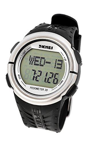 DSstyles Reloj para hombre 5 ATM Reloj deportivo impermeable con medición de ritmo cardíaco Pedometer Cronómetro - Plata
