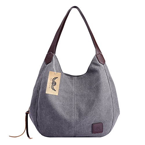 (PB-SOAR Damen Mädchen Modern Canvas Shopper Schultertasche Handtasche Henkeltasche Hobo Bag Beuteltasche (Grau))