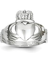 Plata con acabado de rodio anillo de Claddagh s6ZM9bJk