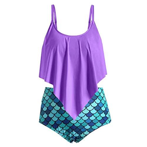 Damen Fischschuppen Drucken Bikini Set Zweiteiliger Bandeau Bademode High Waist Bikinihose Badeshorts Swimwear Sexy Hawaii Badeanzug Retro Tanga Badehose Strandkleidung Swimsuit(Mehrfarbig.M)