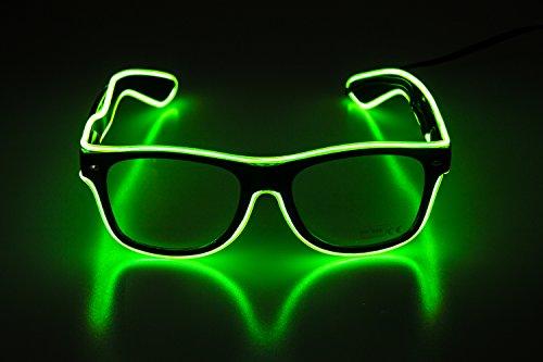 EL Leuchtbrille Party Club LED Leuchten Brillen Partybrille Eyeglasses leuchtende und blinkende Brill mit Batterie Box (Grün)