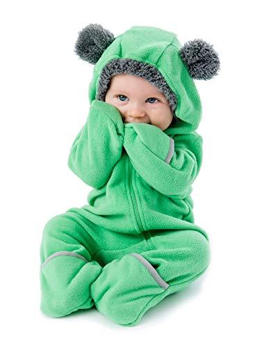 (Funzies Fleece leichte Jacke - Winter Pyjama Oberbekleidung für Baby 3-6 monate Grüner Bär)