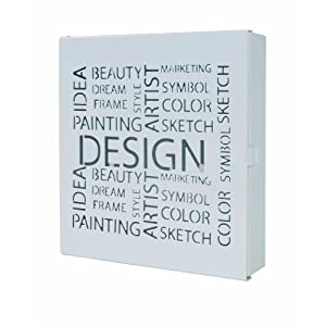 Haku Möbel Schlüsselkasten – Metall weiß lackiert mit 10 Haken Höhe 24 cm
