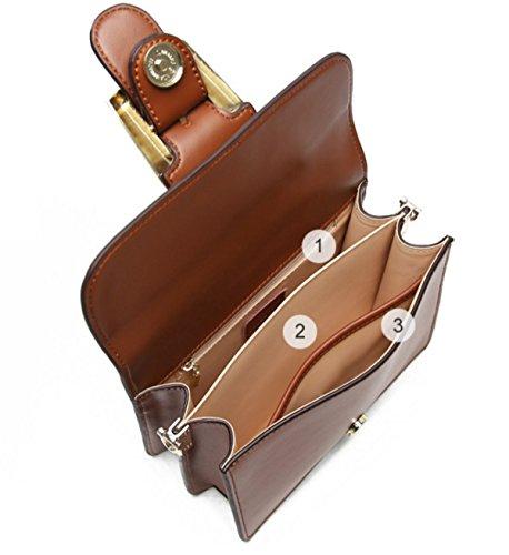Frauen Echtes Leder Schulter Messenger Bag Mode Kette Tasche Handtasche Cross Body Bag Black