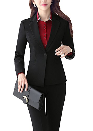 SK Studio Damen Business Hosenanzuge Slim Fit Blazer Reverskragen Karriere Hosen Anzug Set Schwarz 38
