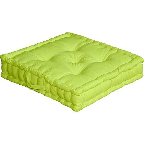 Cuscino da pavimento con maniglia, 50 x 50 x 10 cm, 100{2a2c8f00612bec37e85ec8f49be6f6229a18c49c11f21719027622cb1b5d732e} cotone, Verde