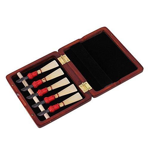 yibuy edlen Holz Fagott Reed Box für 5Blättern mit weicher Samt zu vermeiden Feuchtigkeit bernsteinfarben