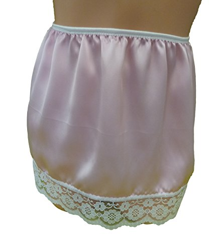 pale-pink-pure-silk-satin-half-slip-with-white-lace-mini-12-long-made-in-france-l-fits-hips-38-40