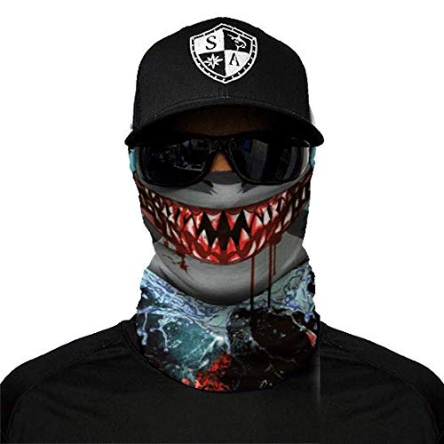 SA Fishing Company Face Shield Sturmhaube viele verschiedene Designs Multiunktionstuch Maske Fishing Totenkopf Schal Skull Bandana Gesichtsmaske Halstuch Ski Motorrad Paintball (Shark Edge) Shark Shield