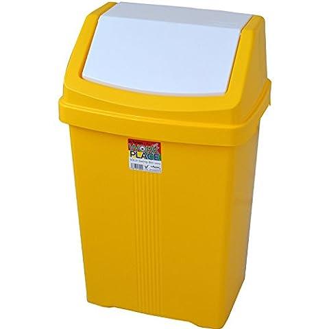 Yellow Colourful High Grade 50 Litre Wham Plastic Flip Top Waste Rubbish Bin