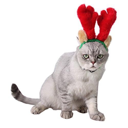 FLAMEER Einstellbare Haustier Hund Katze Weihnachten Rentier Geweih Stirnband Haar Kopf Reifen -
