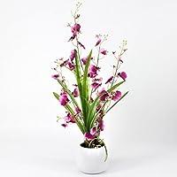 artplants - Orquídea Oncidium artificial en maceta, 2 ramas, violeta-blanco, 50 cm - Flor artificial / Planta sintética