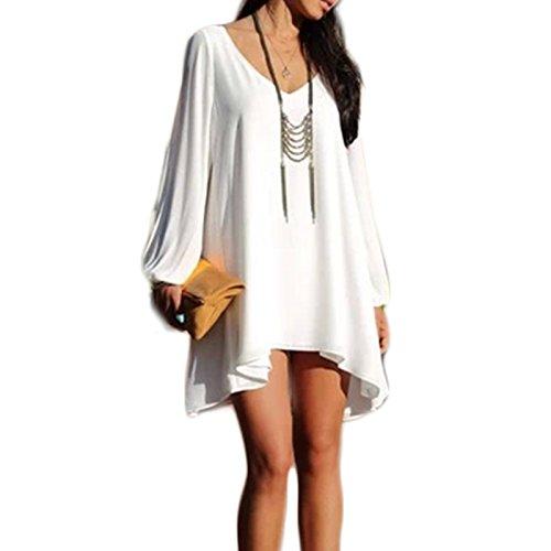 Damen Langarm V-Ausschnitt Chiffon Loose A-linie Arme Geschnitten Kleid Beachwear Minikleid Freizeitkleid Strandkleider Sommerkleider Weiß
